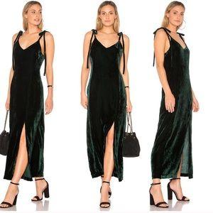 NWT JOA revolve velvet tie shoulder maxi dress